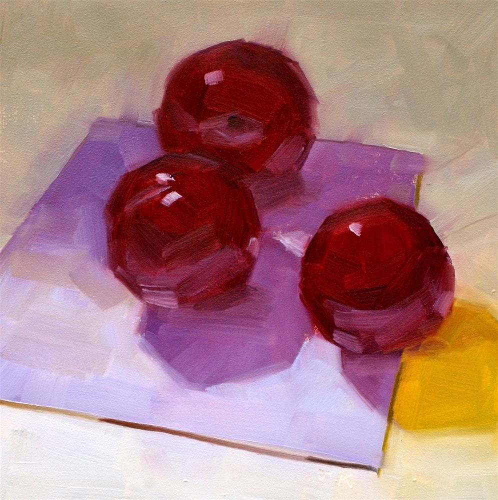 """Plums on Napkin"" original fine art by Jiyoung Kim"