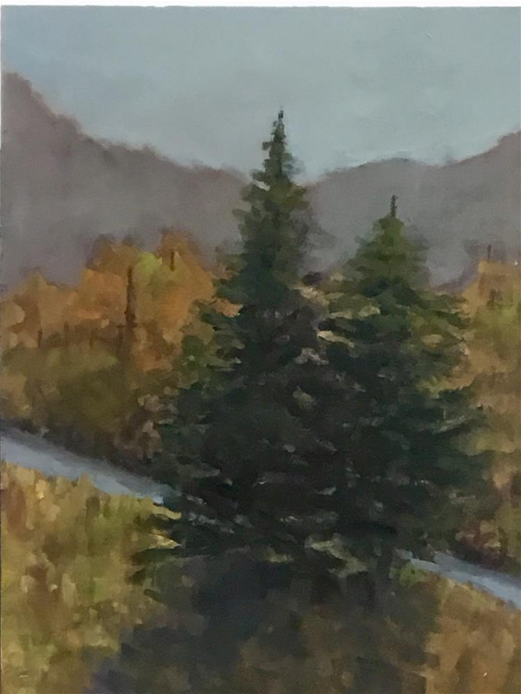 """""""Two pine trees over looking the river"""" original fine art by Betty Argiros"""