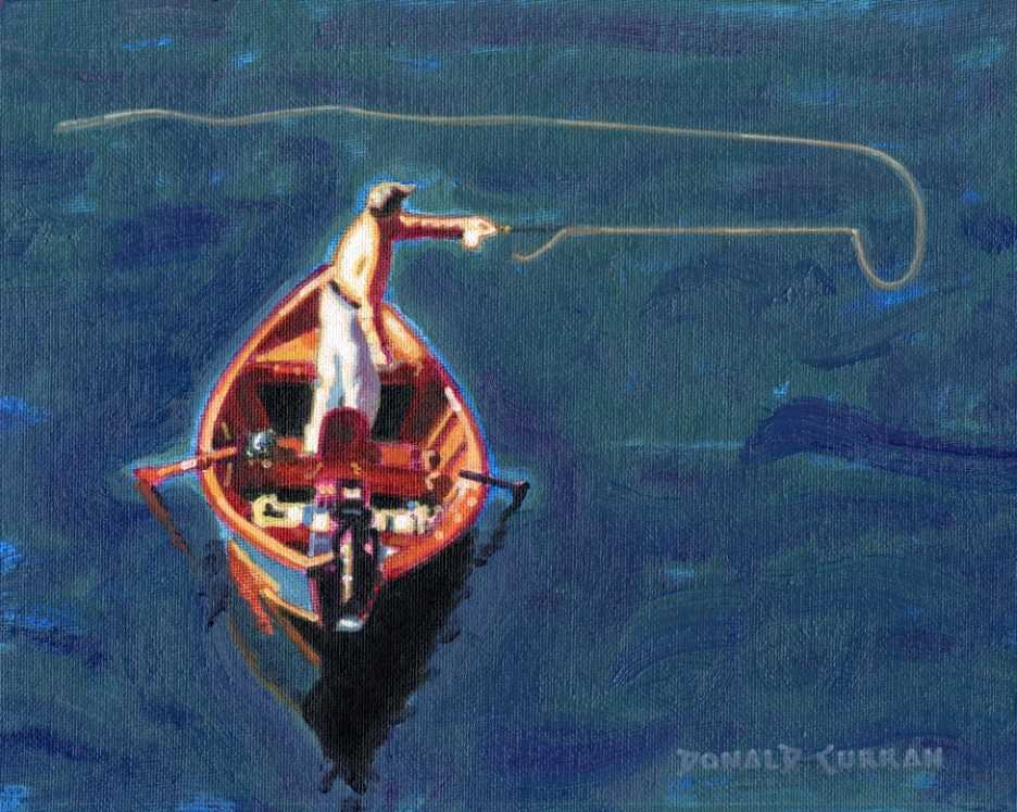 """Fly Fishing"" original fine art by Donald Curran"