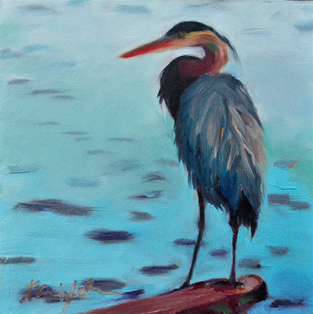 """Evening Crane"" original fine art by Karen Weber"