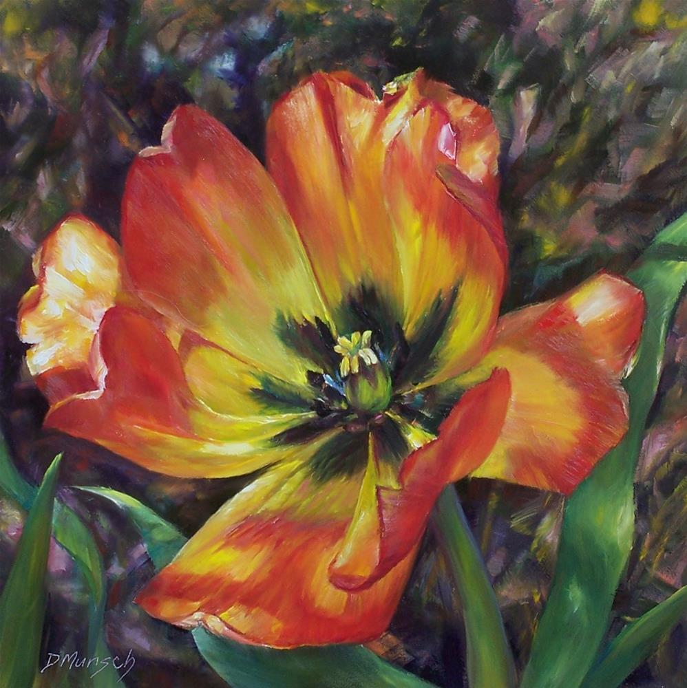 """Firecracker Tulip"" original fine art by Donna Munsch"