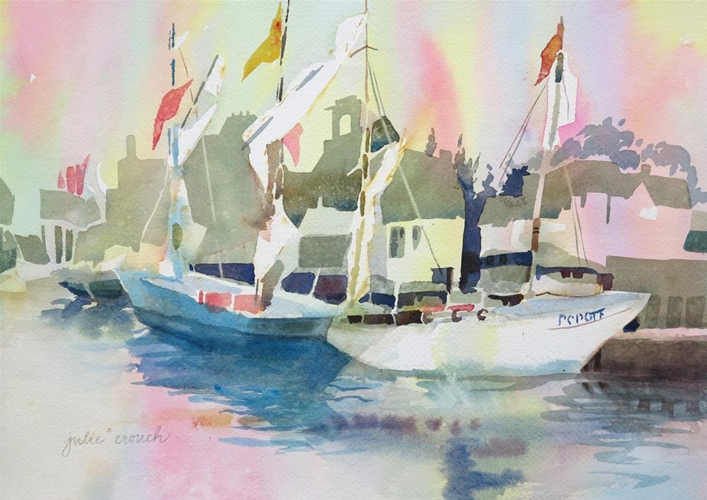 """""""Concarneau Harbor"""" original fine art by Julie Crouch"""