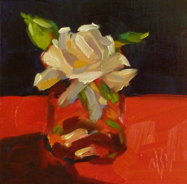 """""""Gardenia in Red 4x4 oil on board. Gardenias don't last long so I hustled and did two back to back."""" original fine art by Mary Sheehan Winn"""