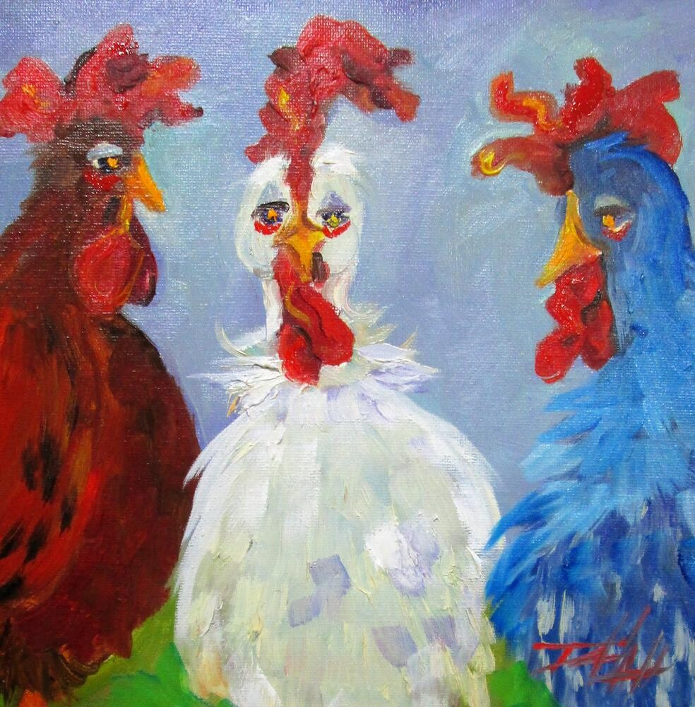 """Red White and Blue Chickens"" original fine art by Delilah Smith"