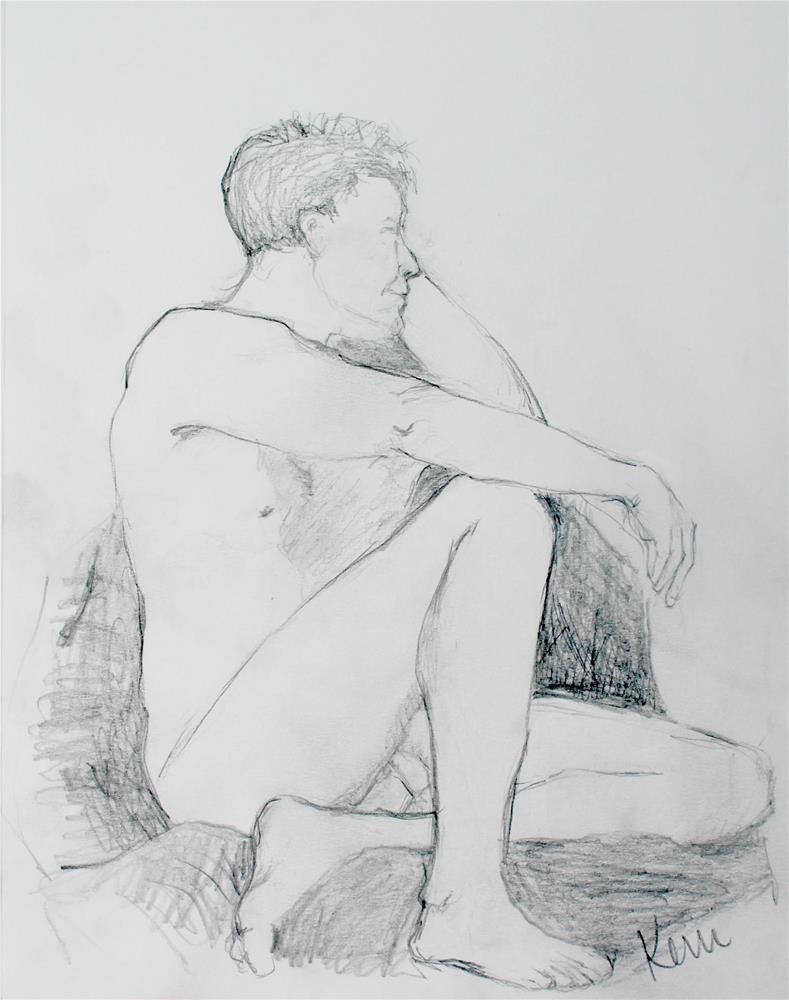 """""""Nude Male Figure Study"""" original fine art by Kerri Blackman"""