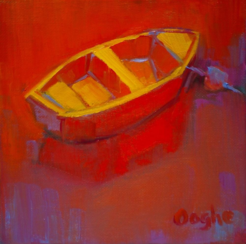 """""""Red Dinghy"""" original fine art by Angela Ooghe"""
