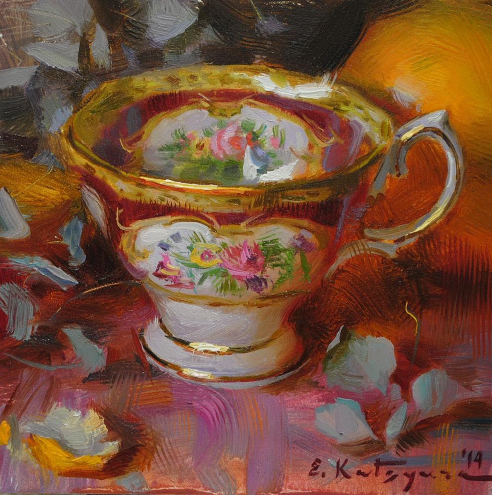 """Lady Hamilton Tea Cup"" original fine art by Elena Katsyura"