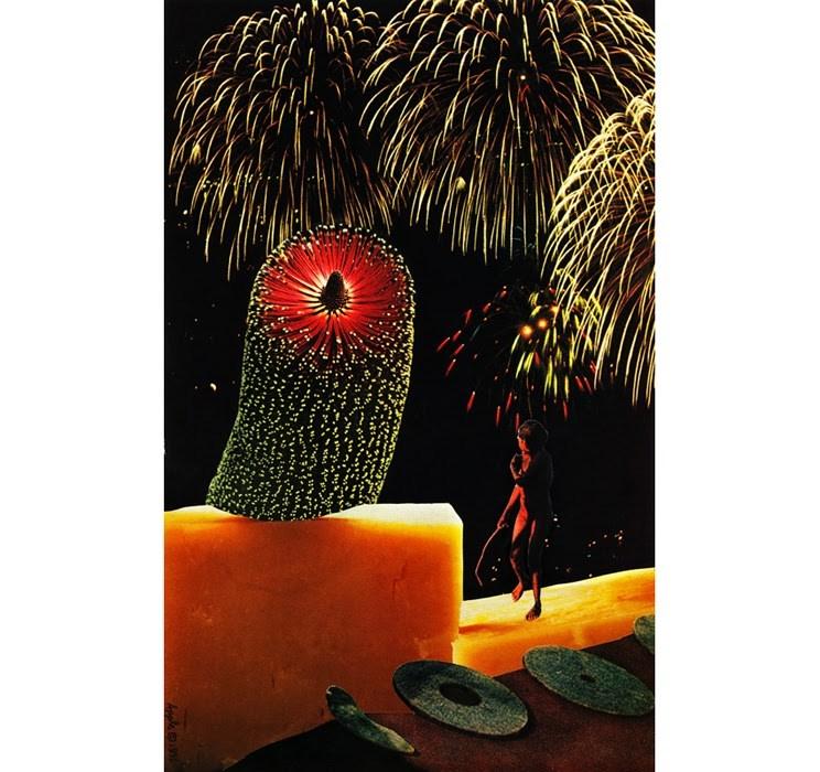 """Flower of Light tradition collage surreal fantasy by L. Apple"" original fine art by Linda Apple"