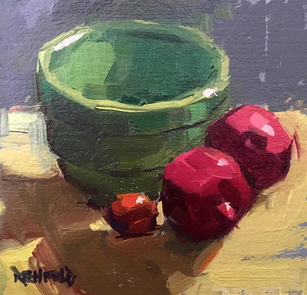 """4x4 Study of Poms and Bowl"" original fine art by Cathleen Rehfeld"
