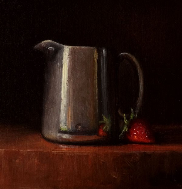 """Antique Sterling Creamer with Strawberry"" original fine art by Darla McDowell"
