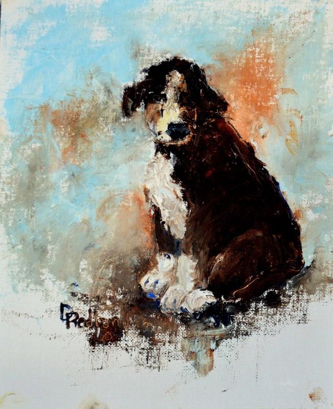"""Pallet knife puppy"" original fine art by Dorothy Redland"