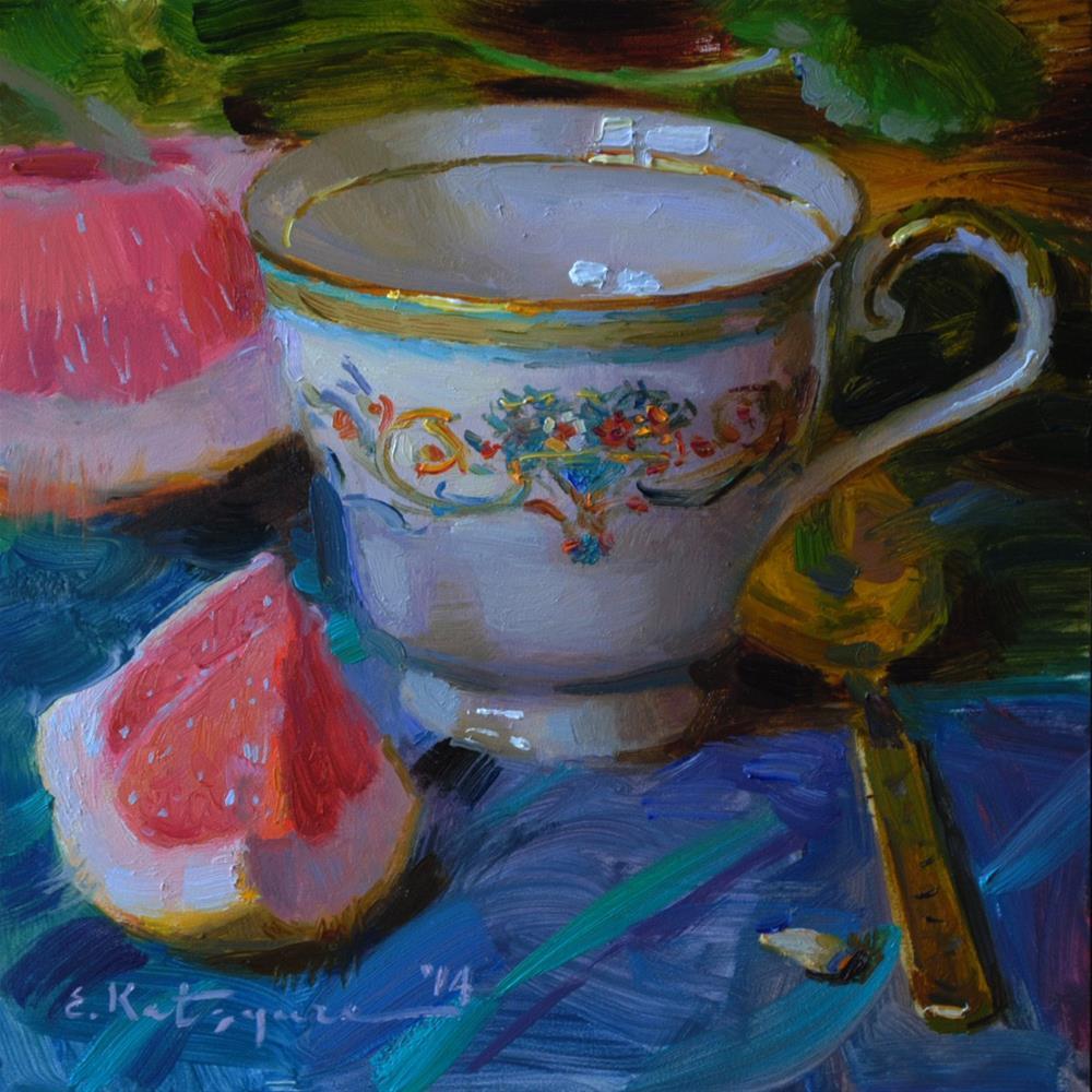 """Teacup and Grapefruit"" original fine art by Elena Katsyura"
