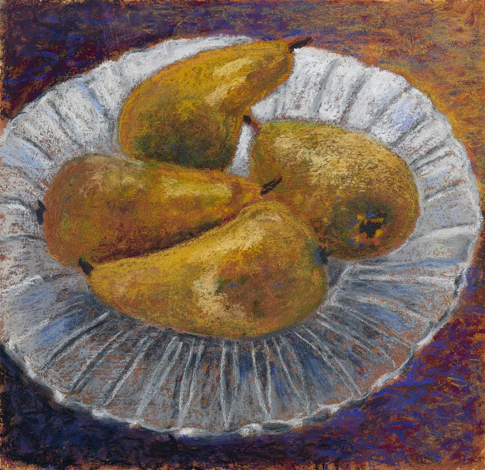 """Pears on Plate"" original fine art by Christine Derrick"