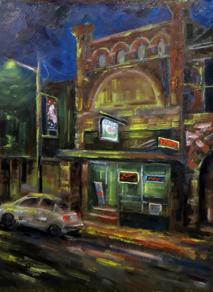"""Night at Classic Pizza"" original fine art by Tammie Dickerson"