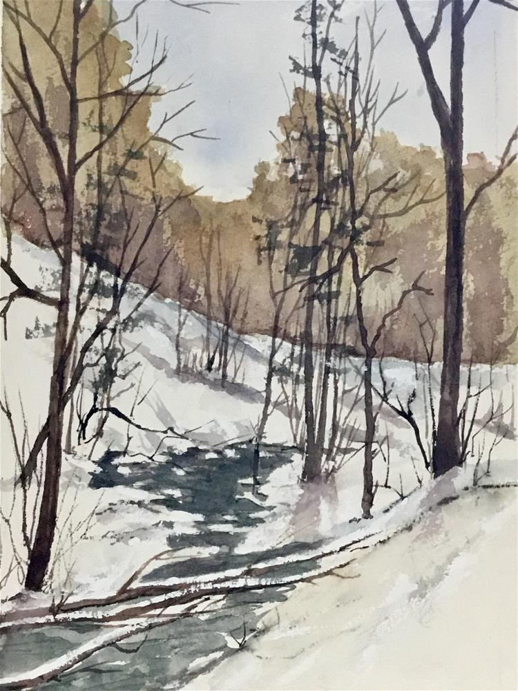 """The brook in the winter"" original fine art by Betty Argiros"