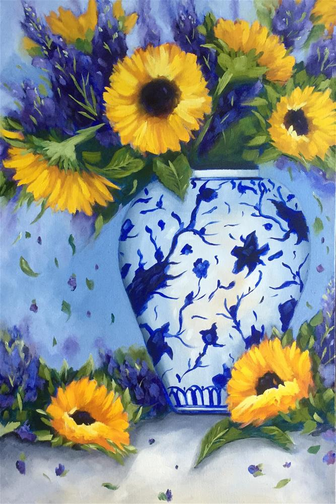"""""""Sunflowers in Blue and White Vase"""" original fine art by Kim Peterson"""