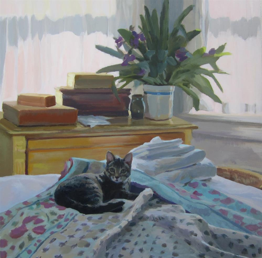 """A Cat on the Bed"" original fine art by Kaethe Bealer"