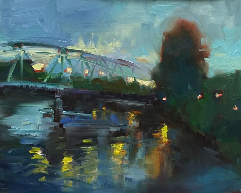 """Dusk From The DeFazio Bridge"" original fine art by Patti McNutt"