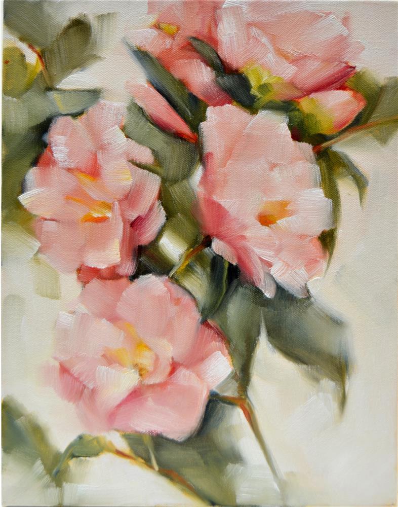 """Pink Camellias"" original fine art by Cheryl Wilson"