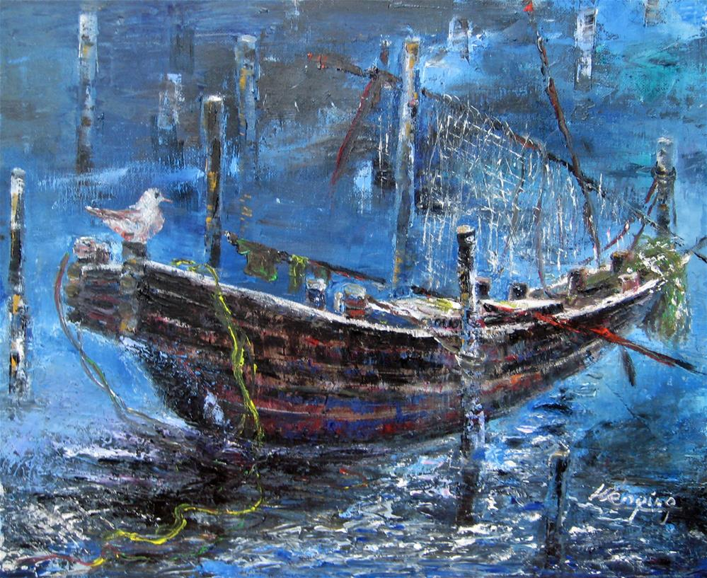 """""""An old boat in night"""" original fine art by Wenqing Xu"""
