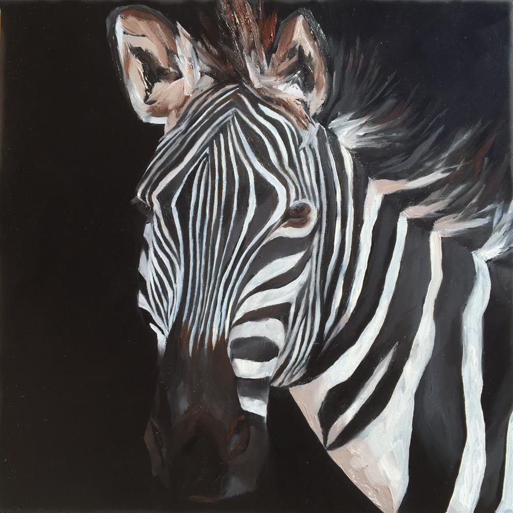 """Zebra"" original fine art by Hallie Kohn"