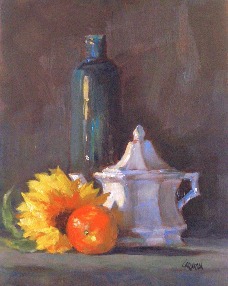 """""""Sunflower, 8x10 Oil on Canvas"""" original fine art by Carmen Beecher"""