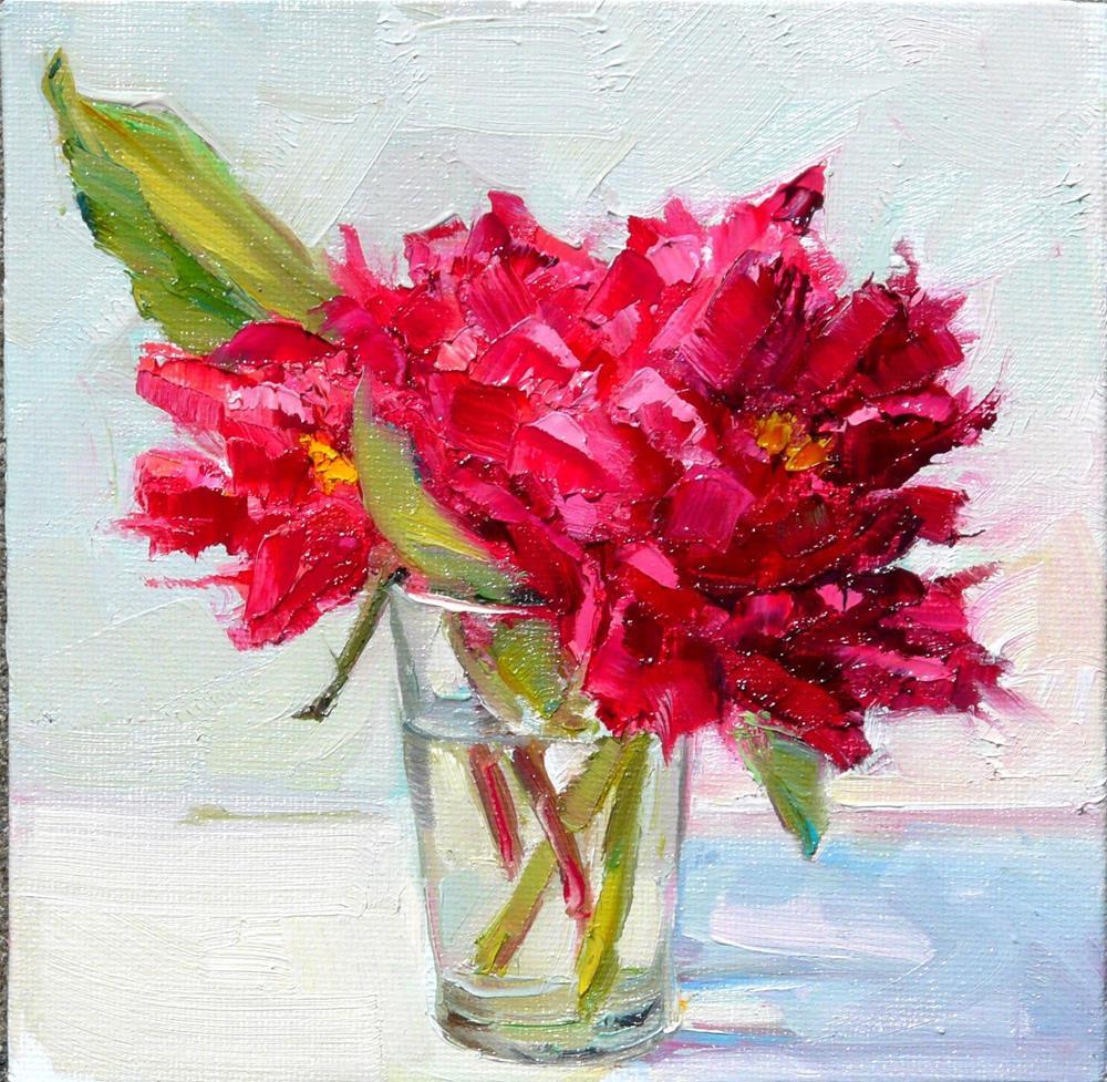 """Red Peonies,still life,oil on canvas,6x6,price$200"" original fine art by Joy Olney"