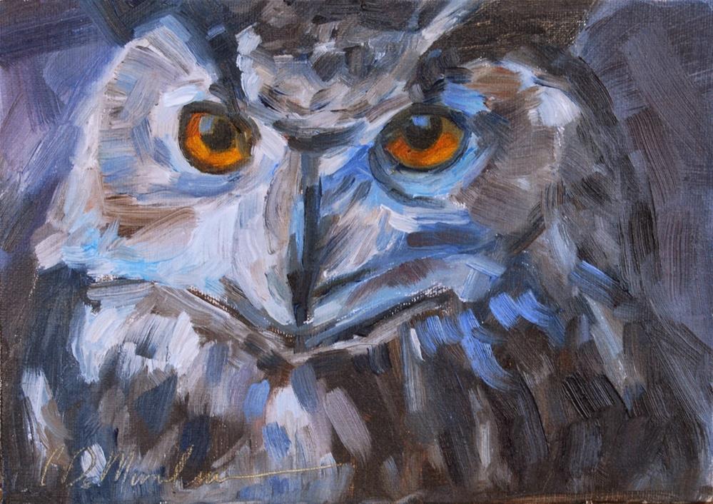"""""""Horned Owl, Original Oil by Carol DeMumbrum"""" original fine art by Carol DeMumbrum"""