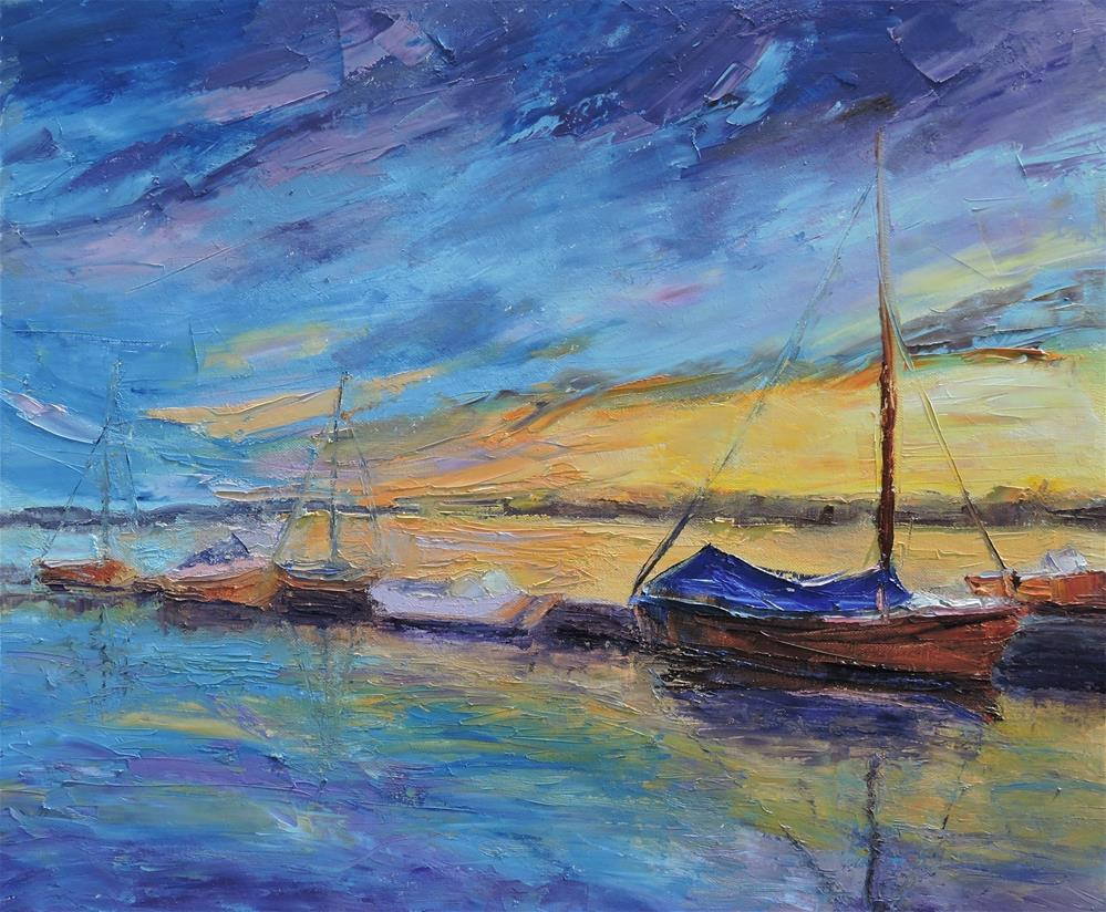 """Sunset at the Dock"" original fine art by Linda mooney"