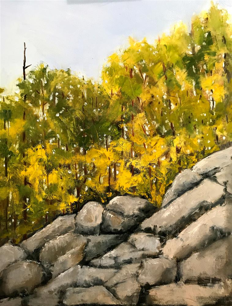 """trees on top of a rocky hill"" original fine art by Betty Argiros"