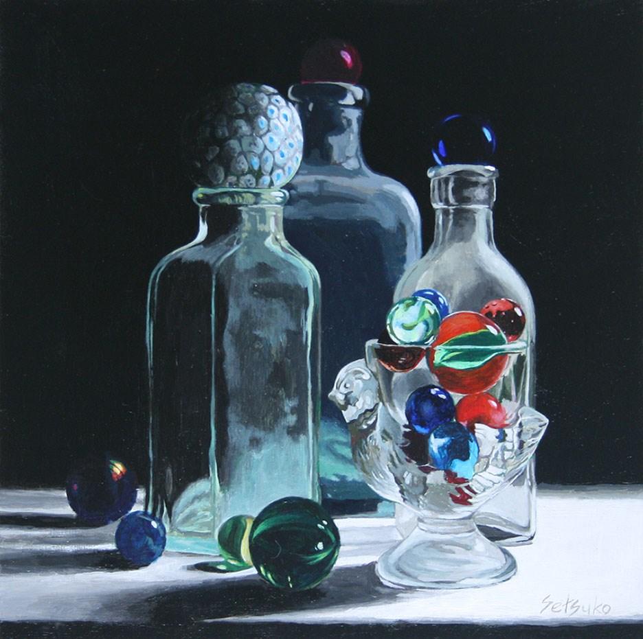 """""""Antique bottles, egg holder, and marbles"""" original fine art by Setsuko Lawson"""