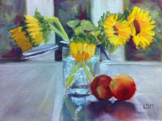 """""""Peaches and Sunflowers"""" original fine art by Linda Marino"""