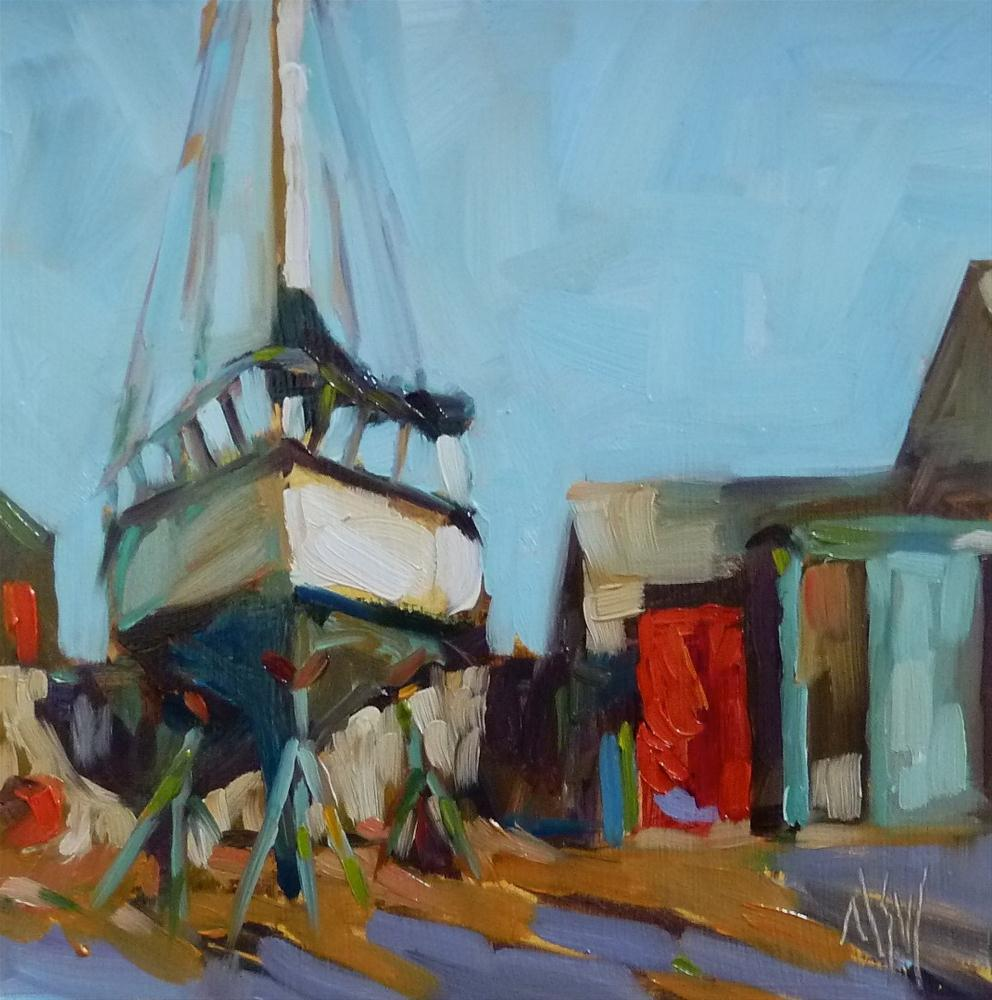 """""""Up On Stilts  6x6 oil on board. A winter scene at a local Marina. I loved the red door (it was really a Coke machine) and the play of red and green in this scene."""" original fine art by Mary Sheehan Winn"""