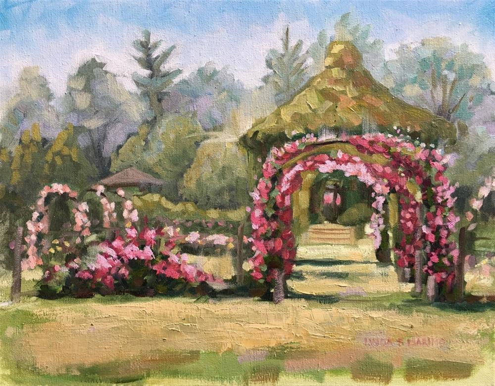 """Roses in Full Glory, Elizabeth Park, Hartford, CT"" original fine art by Linda Marino"