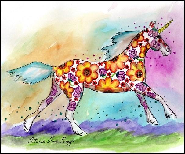 """""""Daydream...A Unicorn"""" original fine art by Patricia Ann Rizzo"""