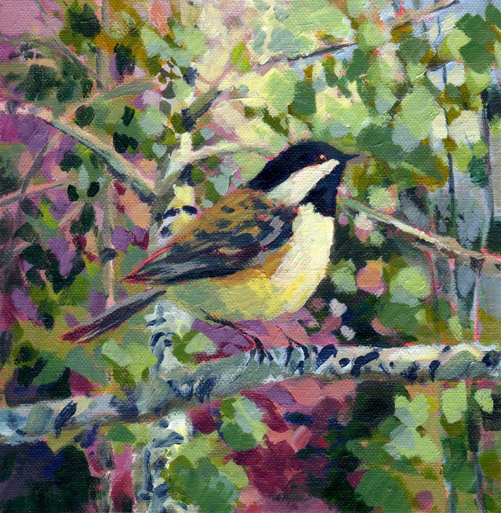 """Chickadee with Mauve & Green"" original fine art by Melissa Gannon"