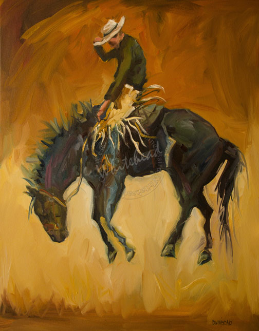 """RODEO RIDE WESTERN HORSE RIDER ARTOUTWEST DAILY PAINTING D WHITEHEAD SEPTEMBER 27"" original fine art by Diane Whitehead"