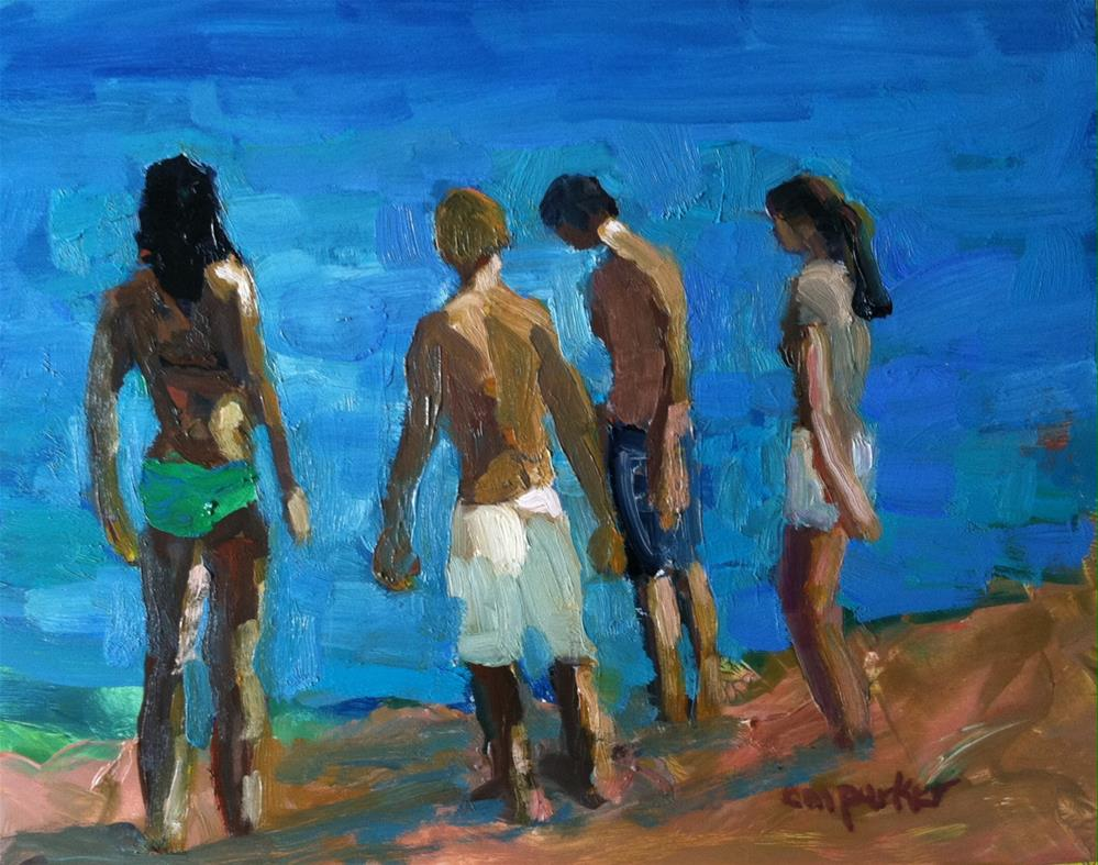 """figurative beach scene"" original fine art by Christine Parker"