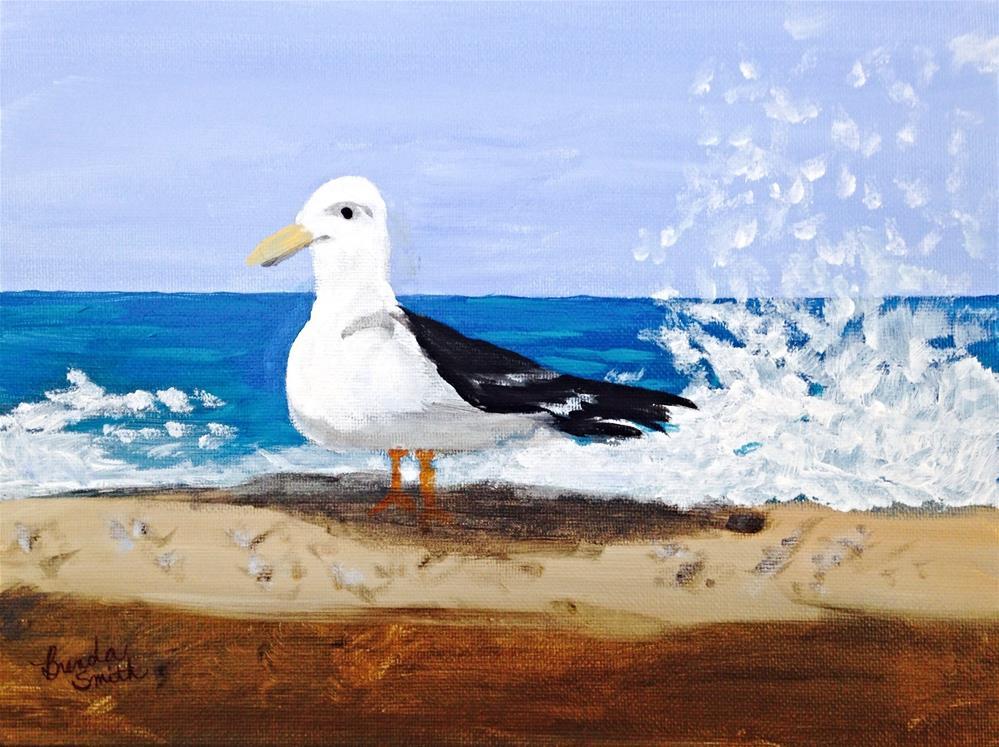 """Seagull on Venice Beach"" original fine art by Brenda Smith"