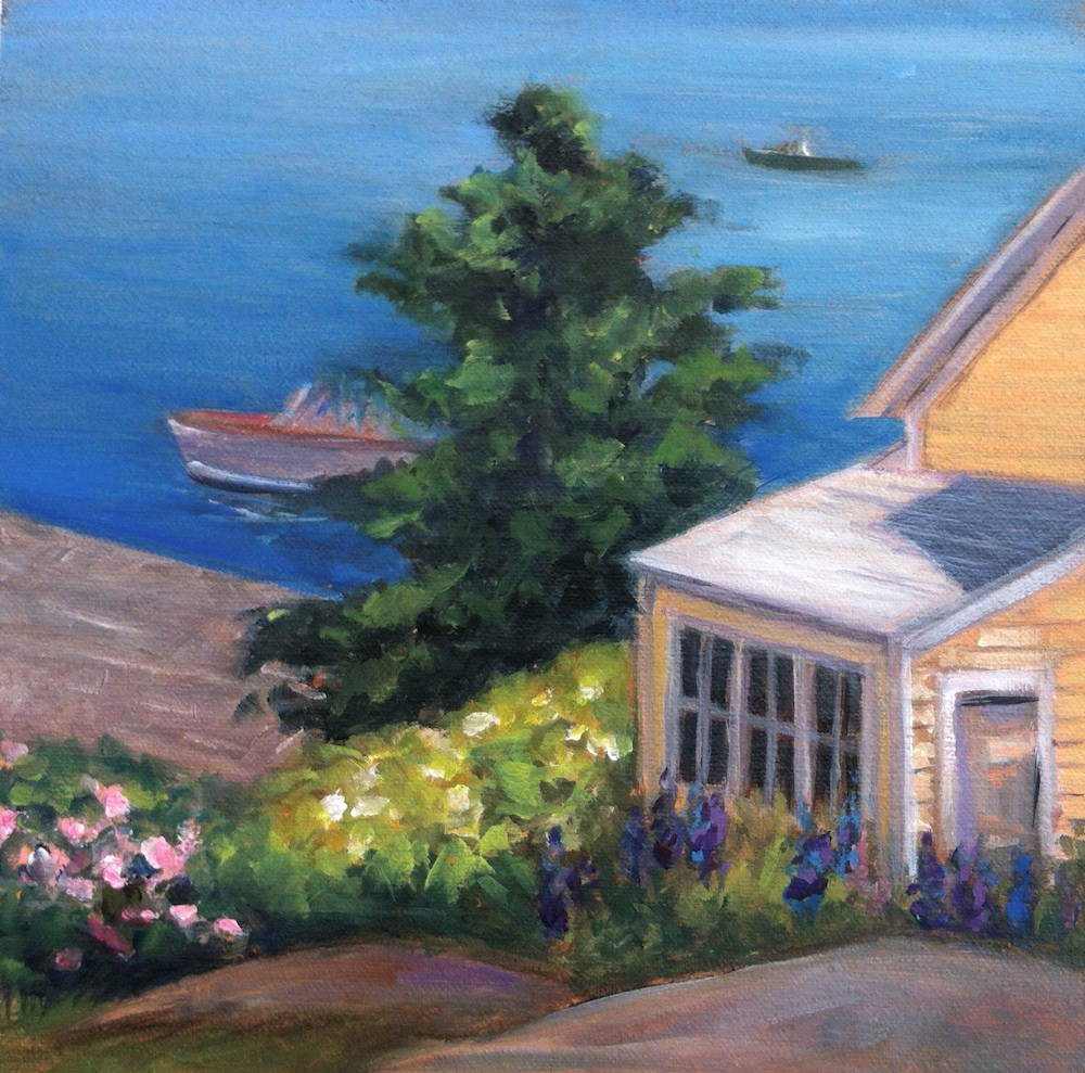 """""""Yellow House by the Sea  Framed"""" original fine art by Lynne Schulte"""