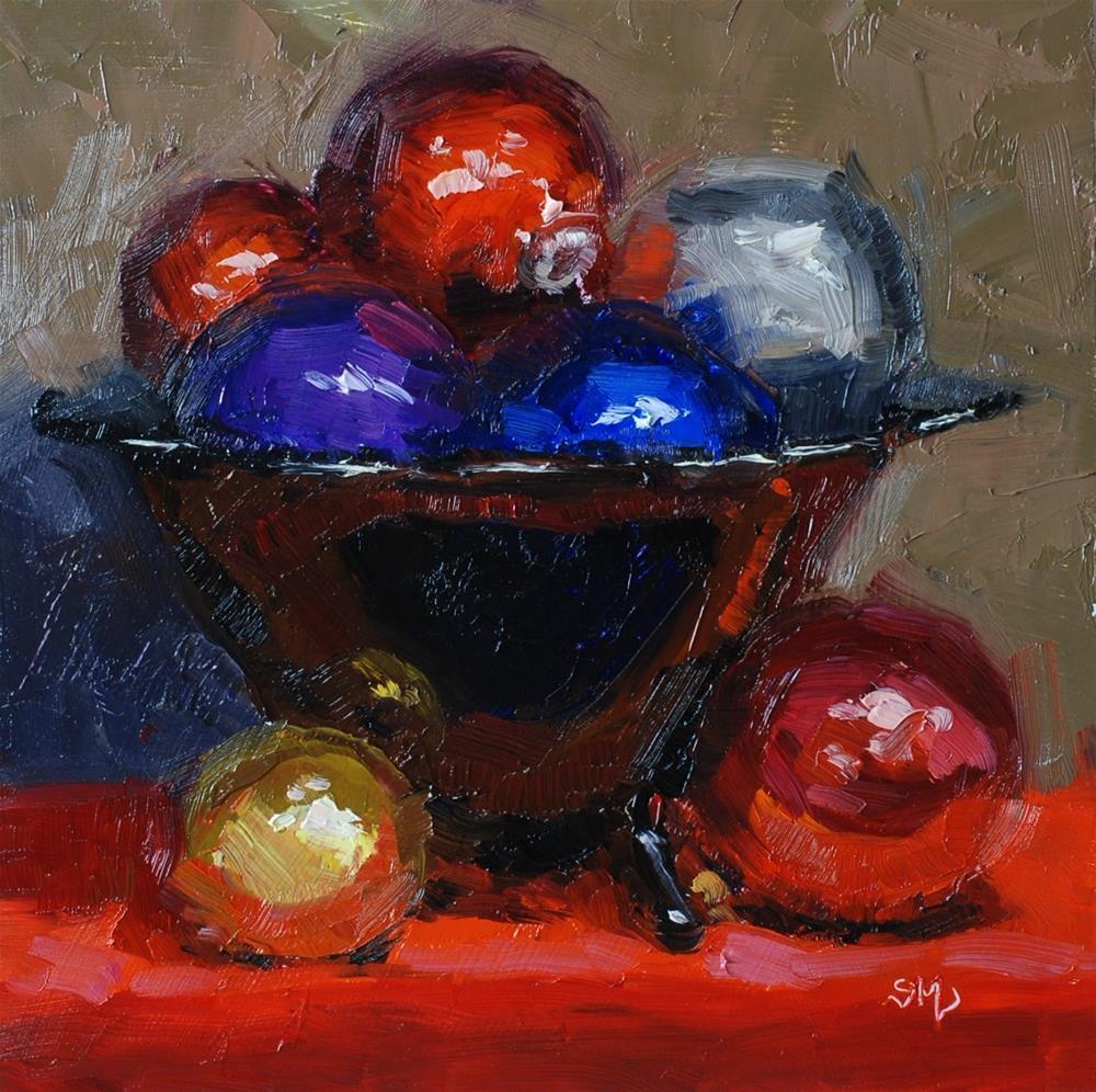 """No. 759 Glass Ornaments in Glass Bowl"" original fine art by Susan McManamen"
