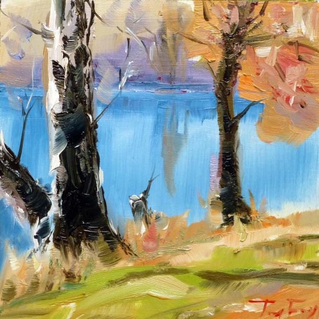 """Am Fluss"" original fine art by Jurij Frey"