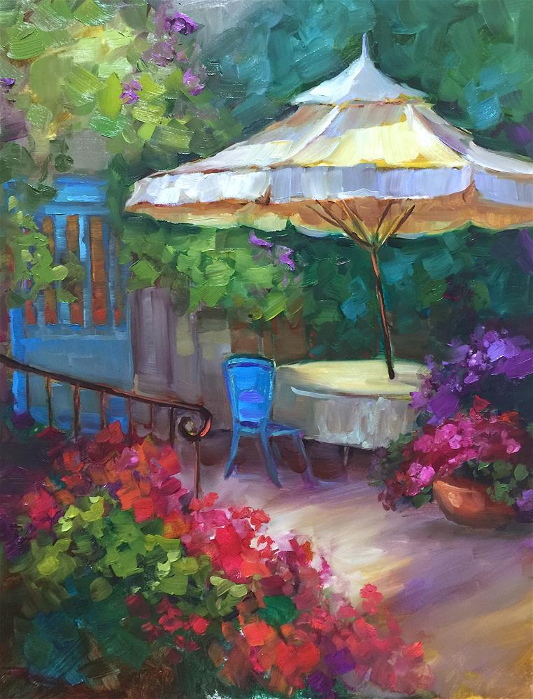 """""""French Patio and a Month in France - Nancy Medina Art Videos and Classes"""" original fine art by Nancy Medina"""