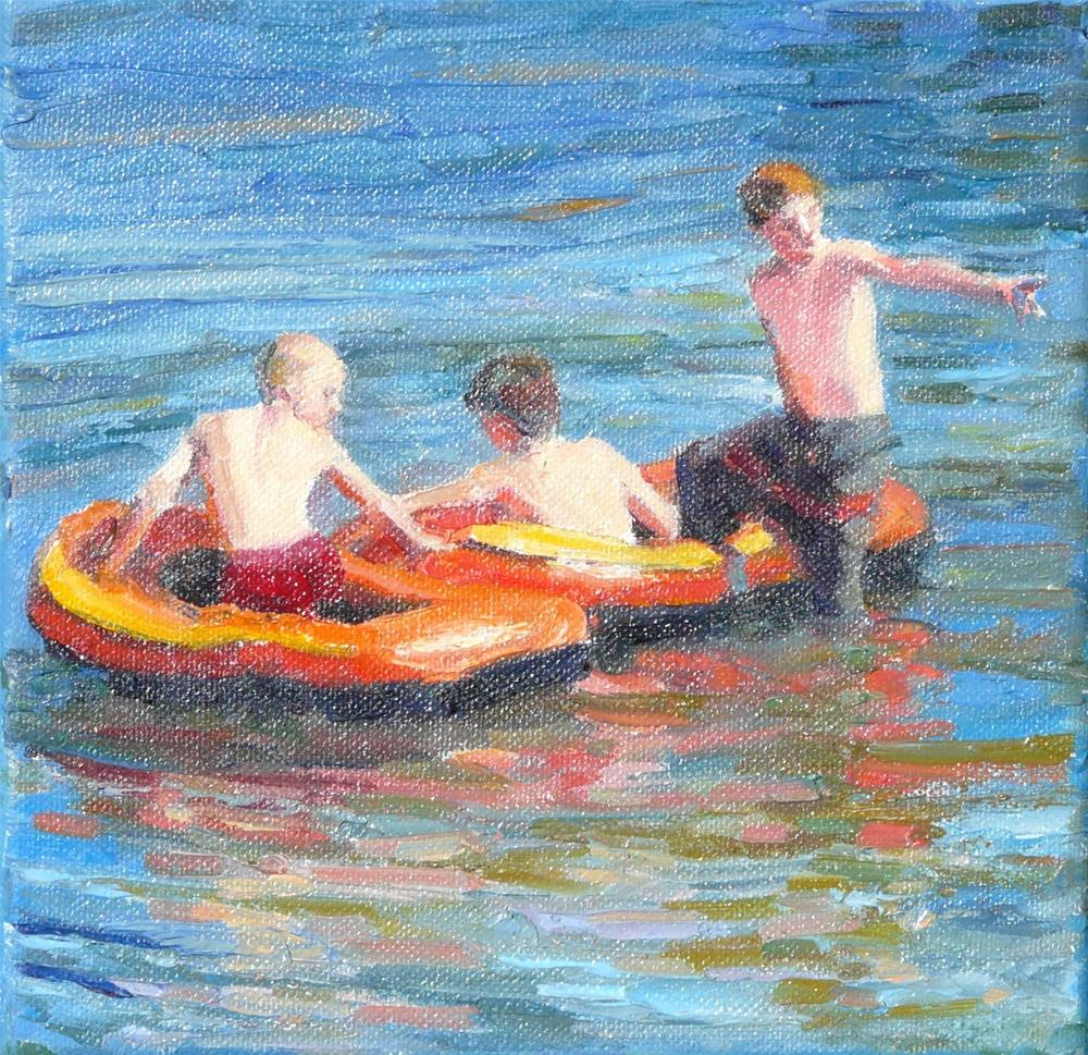 """""""Over There,figures,oil on canvas,8x8,price$750"""" original fine art by Joy Olney"""