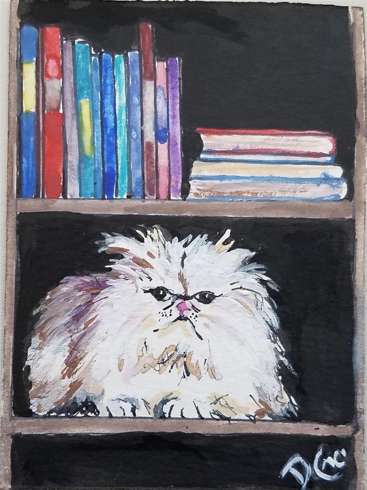 """""""Librarian Cat"""" original fine art by Dana C"""