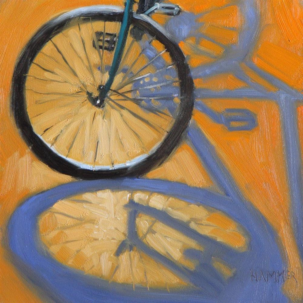 """""""Bicycle III   6x6 in    oil painting"""" original fine art by Claudia Hammer"""