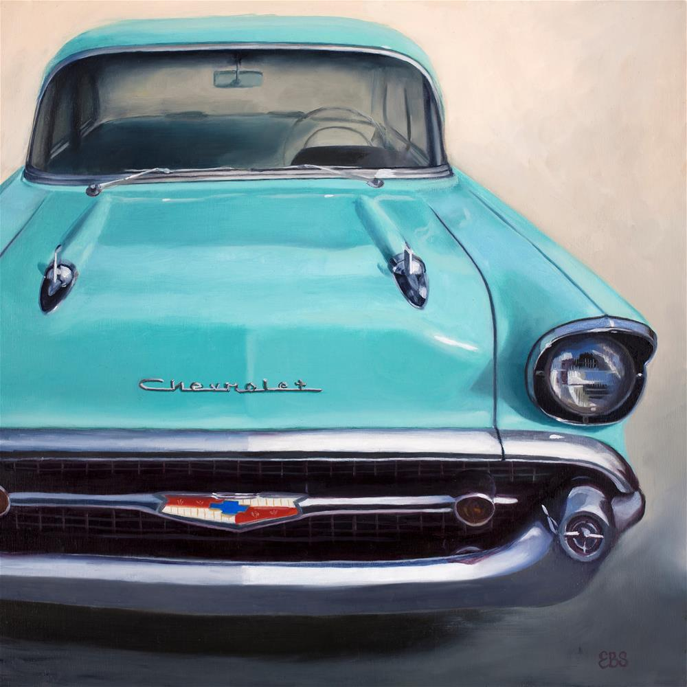 """1957 Blue Chevy"" original fine art by Elaine Brady Smith"