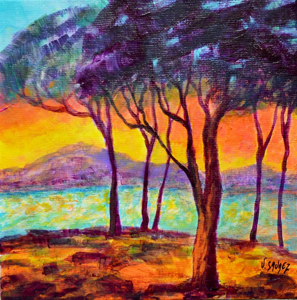 """""""Sunset in Juan-Les-Pins (France)"""" original fine art by Véronique Saudez"""