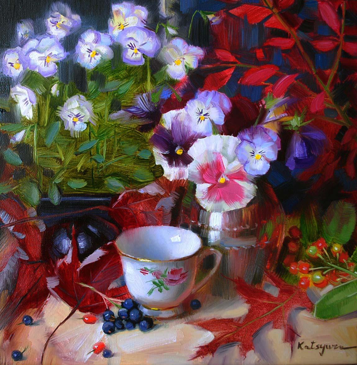 """""""Pansy Parade"""" original fine art by Elena Katsyura"""