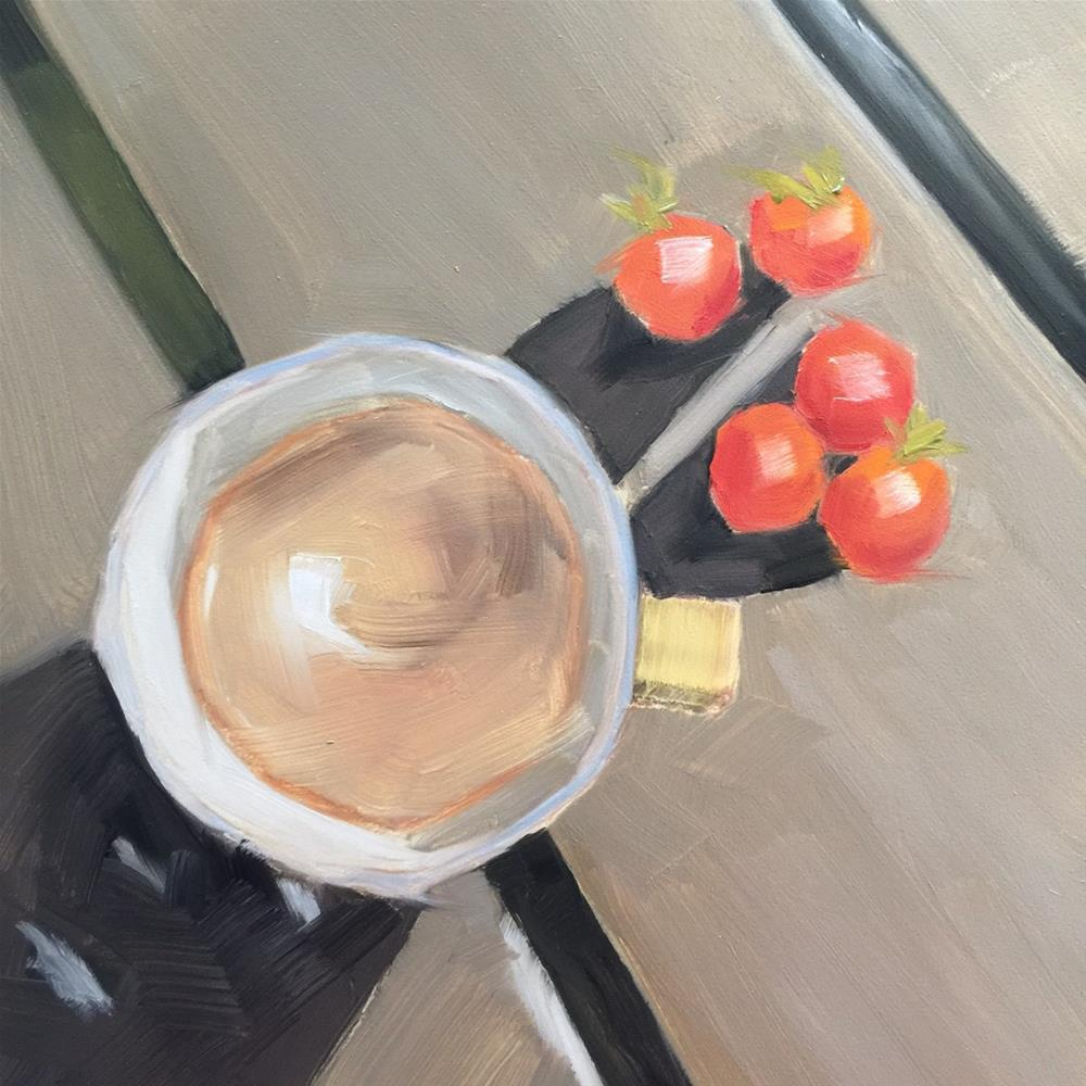 """""""343 Coffee and Cherry Tomatoes"""" original fine art by Jenny Doh"""
